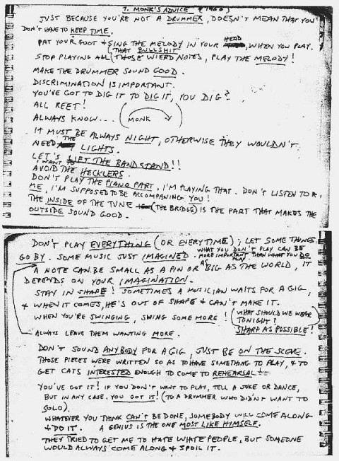 Tips for gigging by Thelonious Monk
